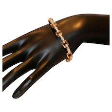 Swarovski Gold Tone Link Bracelet with Clear Crystals
