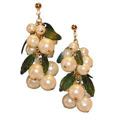 Faux Jade Faux Pearls Goldtone Cascade Pierced Earrings