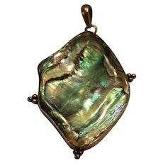 Sterling Abalone Shell Pendant 2 1/4 inches