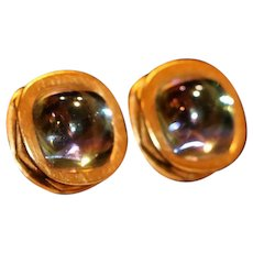 Givenchy Paris New York Gold Tone Glass Cabochon Clip Earrings