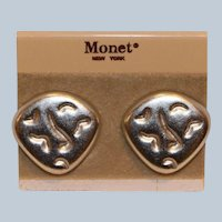 Monet Silver Tone Modernist Clip Earrings