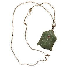 Aventurine Carved Face Pendant & Sterling Chain