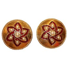 Butler & Wilson Gold Tone Red Enamel and Faux Pearl Clip Earrings