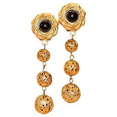 Black and Gold Tone Filigree Bead Drop Clip Earrings