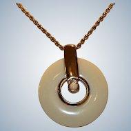 Modernist Gold Tone Lucite Pendant Necklace