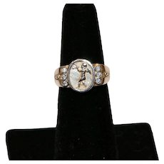 Sterling Intaglio Ring with Cubic Zirconia Size 6