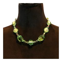 Green Art Glass & Crystal Necklace