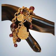 Far East Theme Charm Bracelet with Purple Beads