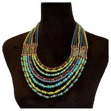 Colorful Bohemian Ethnic Style Gold Tone 8 Strand Bib Necklace