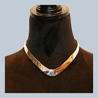 Signed Sterling Contoured Collar Necklace 63 grams