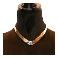 Signed Sterling Silver Contour Collar Necklace 63 grams