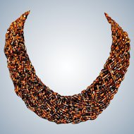 Black Brown Gold Tone Seed Bead Woven Choker Necklace
