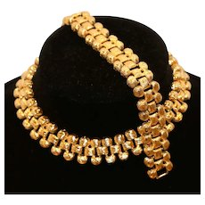St. John Gold Tone Textured Choker Necklace and Bracelet Set