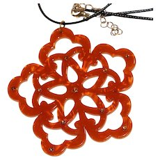 Orange Marbled Lucite & Orange Rhinestone Cut-Out Pendant 2.75 inches