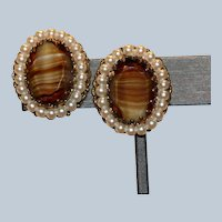West Germany Simulated Pearl & Striped Art Glass Clip Earrings