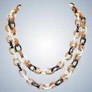 Bold Black White & Goldtone Double Link Necklace 40 inches