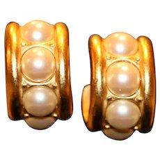 Monet Goldtone & Imitation Pearl Clip Earrings