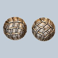 Textured Lattice Round Clip Earrings