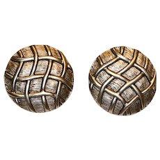 Textured Lattice Round Clip Earrings