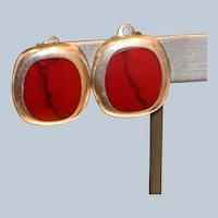 Sterling & Carnelian Clip Earrings