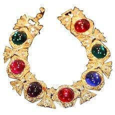 Mogul-Style Cabochon & Crystal Gold Tone Link Bracelet