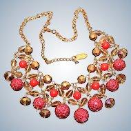 Vintage Sparkle Bib Style Chain & Beaded Necklace