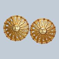 SMC Sun Face Clip Earrings