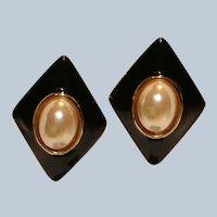 Enamel & Faux Pearl Clip Earrings