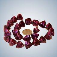 Marbled Purple Lucite Triangular Bead Necklace