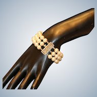 Three-Strand Simulated Pearl Bracelet with Gold Tone Clasp
