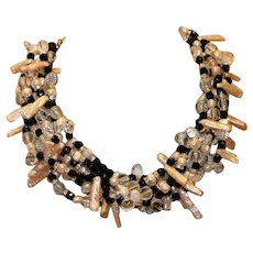 Kenneth Jay Lane Black & White Crystal and Cultured Freshwater Pearl Torsade Necklace