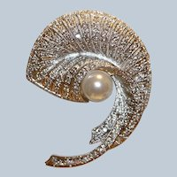 Crystal & Imitation Pearl Pin Brooch