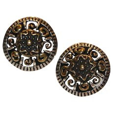 Sterling & Brass Mayan Motif Pierced Button Earrings