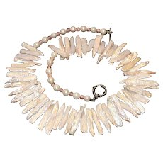 Cultured Freshwater Pearl & Mother of Pearl Slices Necklace