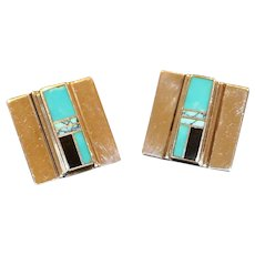 Sterling Turquoise & Onyx Inlaid Pierced Earrings