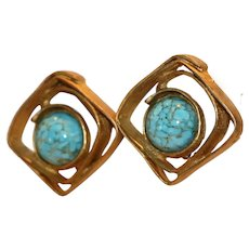 Rustic Clip Earrings with Simulated Turquoise