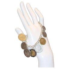 Milor Italy Sterling Coin Charm Bracelet