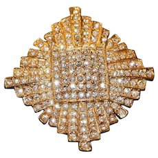 Gold Tone & Clear Crystal Starburst Brooch Pin