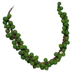 Boho Hippie Style Imitation Jade Bead Choker Necklace