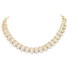 Silver Tone Swirl Choker Necklace 17.75 inches