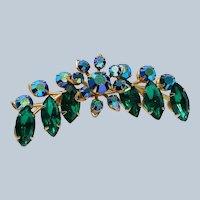 Green & Blue AB Rhinestones 1950's Pin Brooch