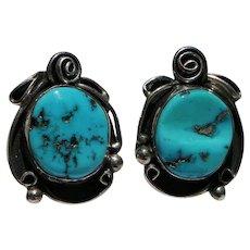 Sterling & Kingman Turquoise Pierced Earrings Signed