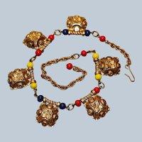 Etruscan Style Multi-Color Choker Necklace