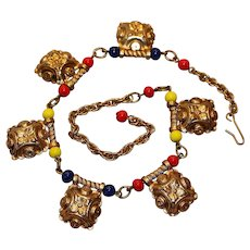 Etruscan Style Multi-Color Choker Necklace