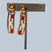 1970's Red & Cream Enamel Gold Tone Clip Earrings