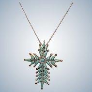 Native American Vera Halusewa Zuni Turquoise Cross Brooch Pendant