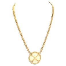 Napier Cream  Enamel Pendant Necklace w Curb Link