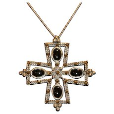 Sterling Onyx Marcasite Cross Pendant Necklace