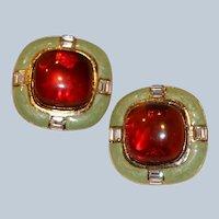 Bold Enamel & Cabochon & Rhinestone Clip Earrings