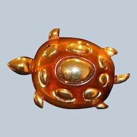 Liz Claiborne Lucite Turtle Pin Brooch